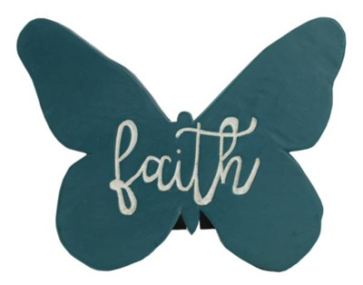 Faith, Butterfly, Plaque, Teal  -     By: Amylee Weeks