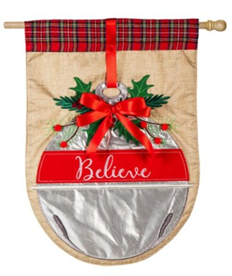 Believe Bell Linen Flag, Large  -