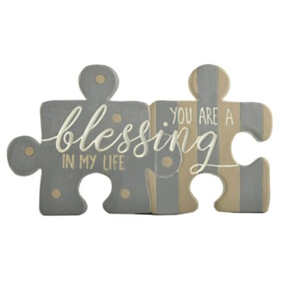 You Are A Blessing in My Life Puzzle Piece Wall Art  -     By: Barbara Lloyd
