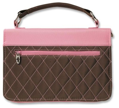 Quilted Handbag Bible Cover, Brown and Pink   -