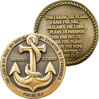 Anchored in Christ, The Lord is My Rock Challenge Coin  -
