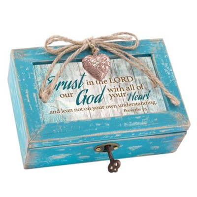 Trust in the Lord, Music Box with Heart Locket  -