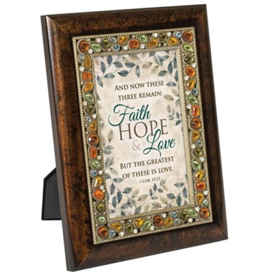 Faith, Hope & Love, Jeweled Amber Plaque  -
