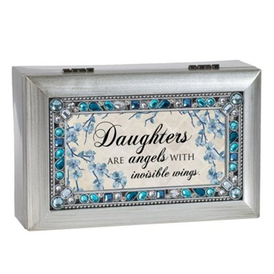 Daughters are Angels With Invisible Wings, Jeweled Silver Music Box  -