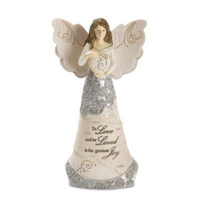 To Love and be Loved, Angel Holding Heart Figurine  -