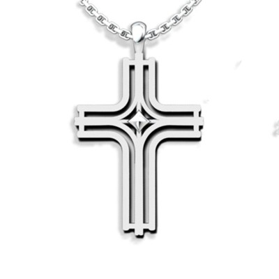 Radiant Cross Pendant, Sterling Silver  -