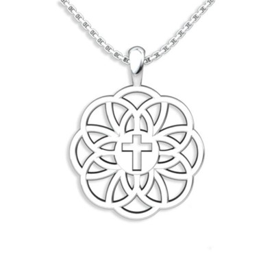 Flourish Cross Pendant, Sterling Silver  -