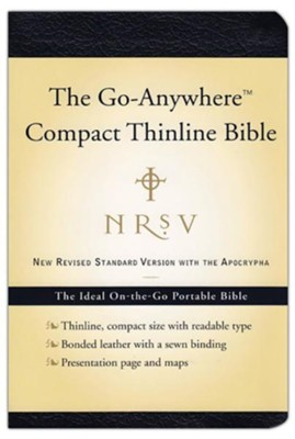 NRSV Go-Anywhere Compact Thinline Bible with Apocrypha bonded leather, navy blue  -