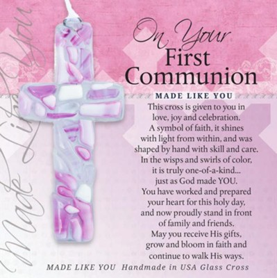 On Your First Communion Mosaic Cross, Pink  -