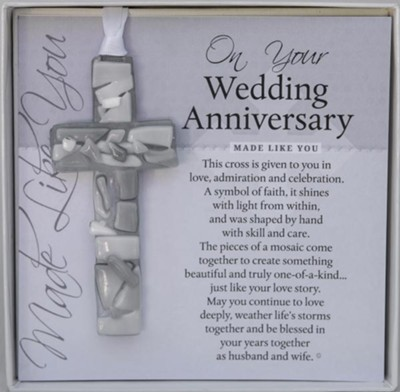 On Your Wedding Anniversary Mosaic Cross Ornament  -