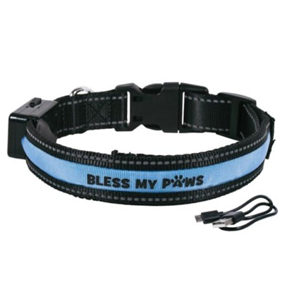 Bless My Paws LED Dog Collar, Blue, Medium  -