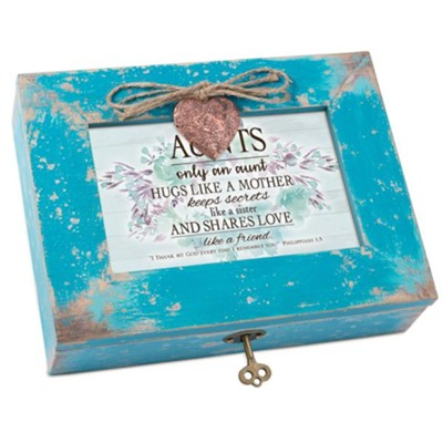 Aunts Only An Aunt Hugs Like A Mother, Music Box with Locket  -