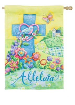 Alleluia, Easter, Suede Flag, Large  -