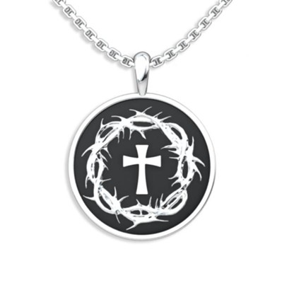 Crown Of Thorns and Cross Pendant, Sterling Silver  -