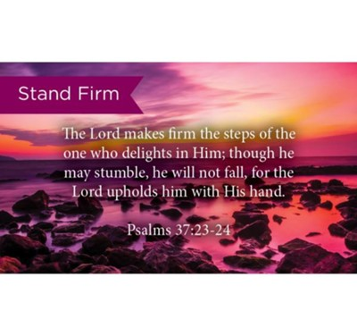 Scripture Cards, Stand Firm Psalms 37:23-24, Pack 25  -