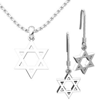 Star of David, Pendant and Earrings Set  -
