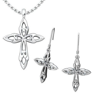 Leaf Cross Pendant and Earrings Set  -