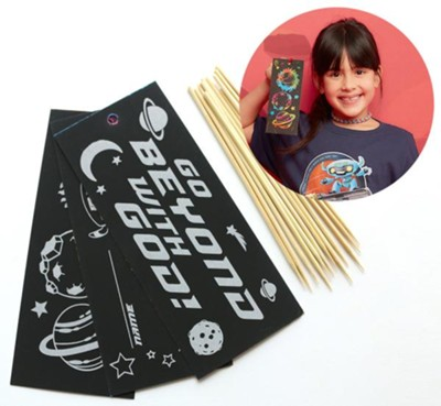To Mars and Beyond: Scratch Art Bookmark Craft Kit (Pkg. of 12)  -