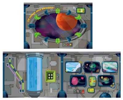 To Mars and Beyond: Decorating Mural Package - 9 panels to tile to 6' x 27'  -