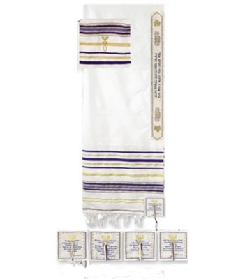 Blue Stripe Prayer Shawl 32 X 72 with Bag   -