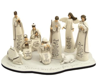 Scriptured Nativity Set with Base   -