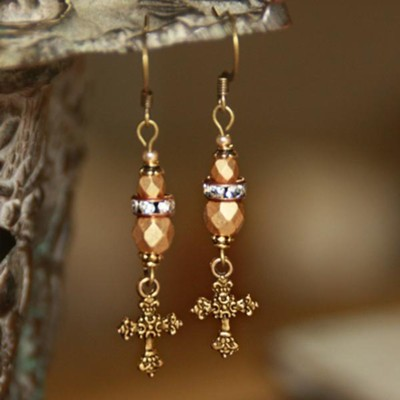 Vintage Beaded Cross Dangle Earrings, Gold Tone  -