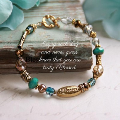 Know That You Are Blessed Crystal Beaded Bracelet, Multi Colored  -