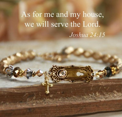 As For Me And My House We Will Serve The Lord Bracelet, Gold Tone  -