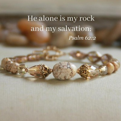 He Alone Is My Rock Bracelet with Semiprecious Gems  -