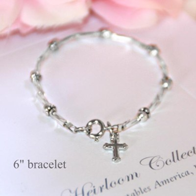 Two Tone Cross Beaded Bracelet, 6 Inches  -