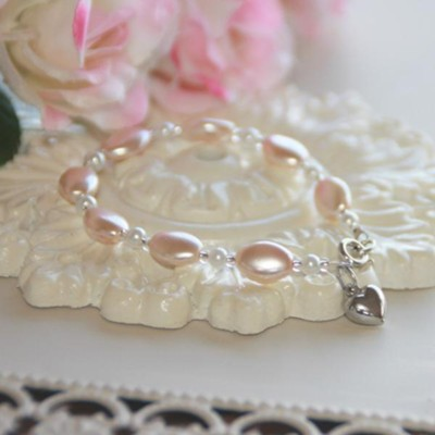 Oval Glass Pearls And Crystals With Heart Bracelet, Pink  -