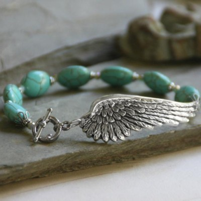 Wings Bracelet with Oval Beads, Turquoise  -