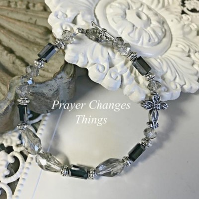 Prayer Changes Things Bracelet, Black and Hematite  -