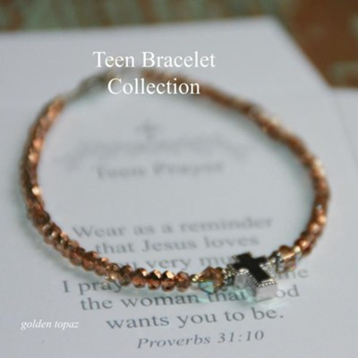 Teen Prayer Bracelet Rose and Topaz  -