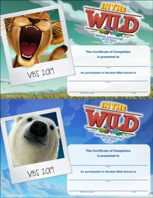 In The Wild: Certificate of Completion (pkg. of 50)  -