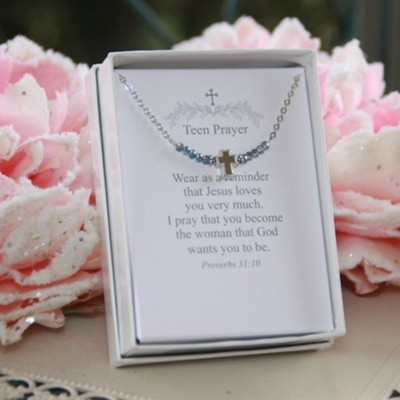 Blue Beaded Teen Prayer Necklace  -
