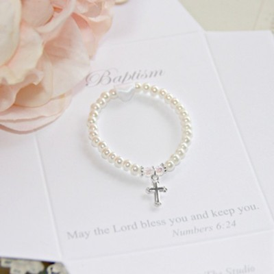 Baptism Pearl and Cross Bracelet, Small  -