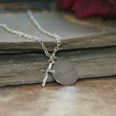 Blessed Disk Charm Necklace with Crucifix  -