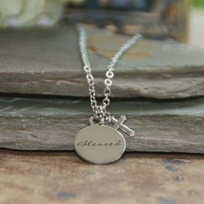 Blessed Disk Charm Necklace with Cross  -