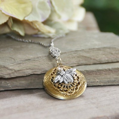 Bee Locket Necklace  -