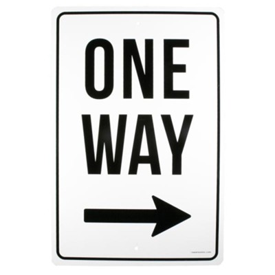 One Way, Right, Church Parking Sign  -