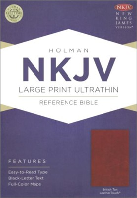 NKJV Large Print Ultrathin Reference Bible--soft leather-look, British tan  -