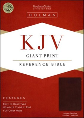 KJV Giant-Print Reference Bible--genuine leather, brown (indexed)  -
