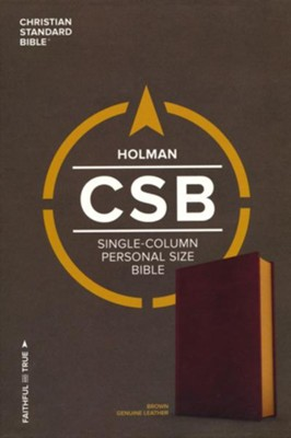CSB Single-Column Personal-Size Bible--genuine leather, brown  -