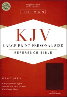 KJV Large-Print Personal-Size Reference Bible--genuine leather, brown  -