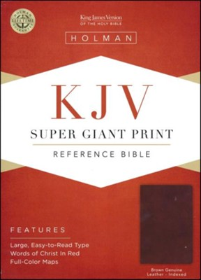 KJV Super Giant-Print Reference Bible--genuine leather, brown (indexed)  -
