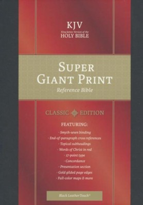 KJV Super Giant-Print Reference Bible--soft leather-look, black (indexed)  -