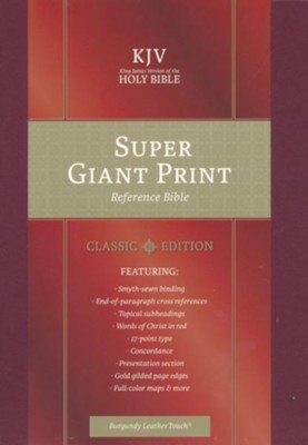 KJV Super Giant-Print Reference Bible--soft leather-look, burgundy  -