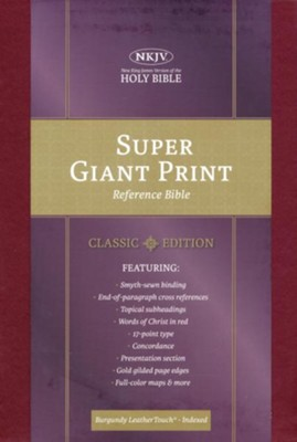 NKJV Super Giant-Print Reference Bible--soft leather-look, burgundy (indexed)  -