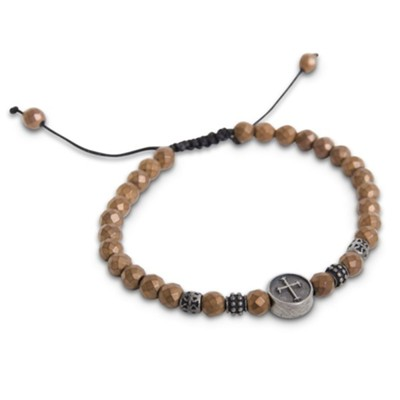 Beaded Hematite Adjustable Bracelet, Copper  -